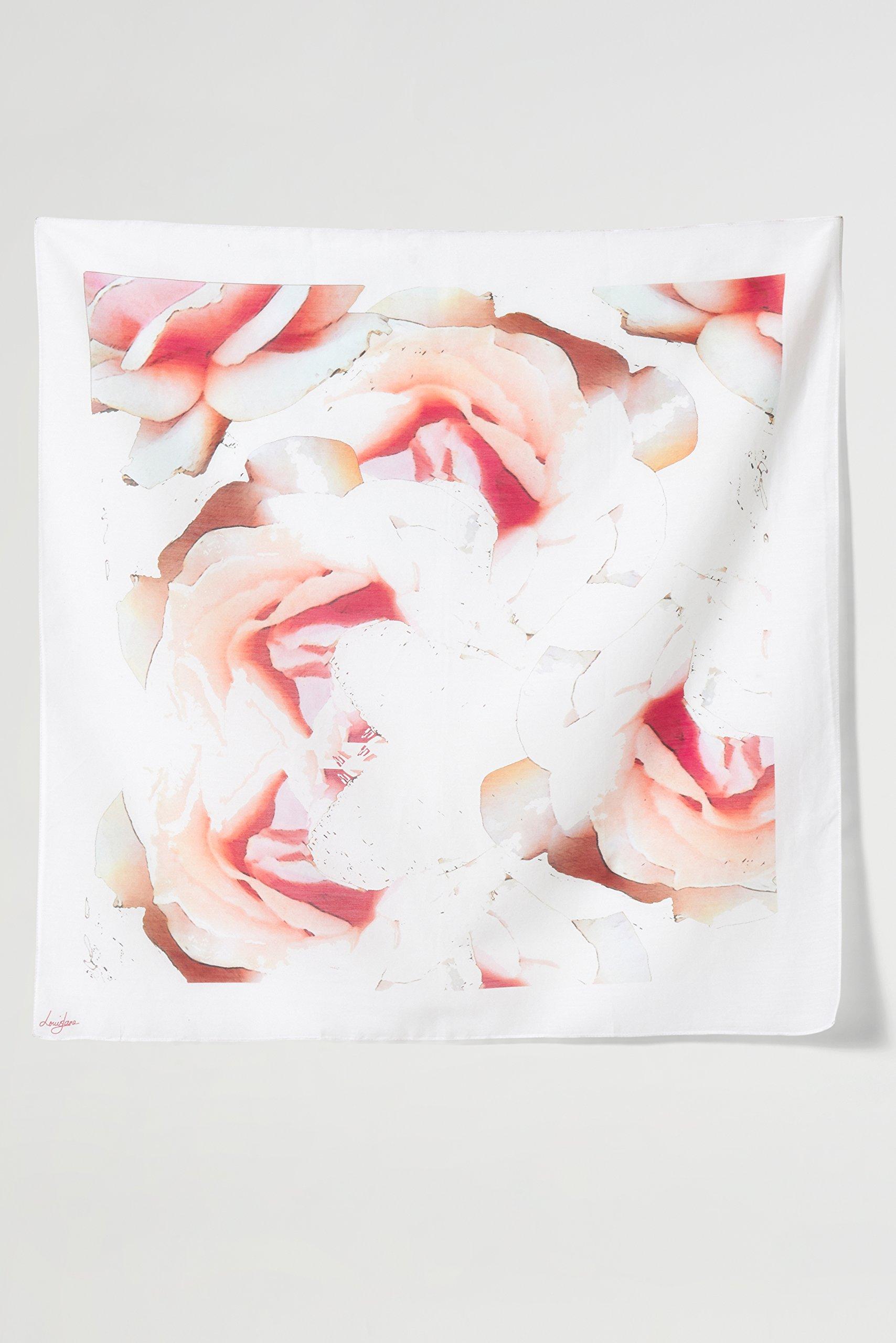 Camellia Cream Square Silk Scarf