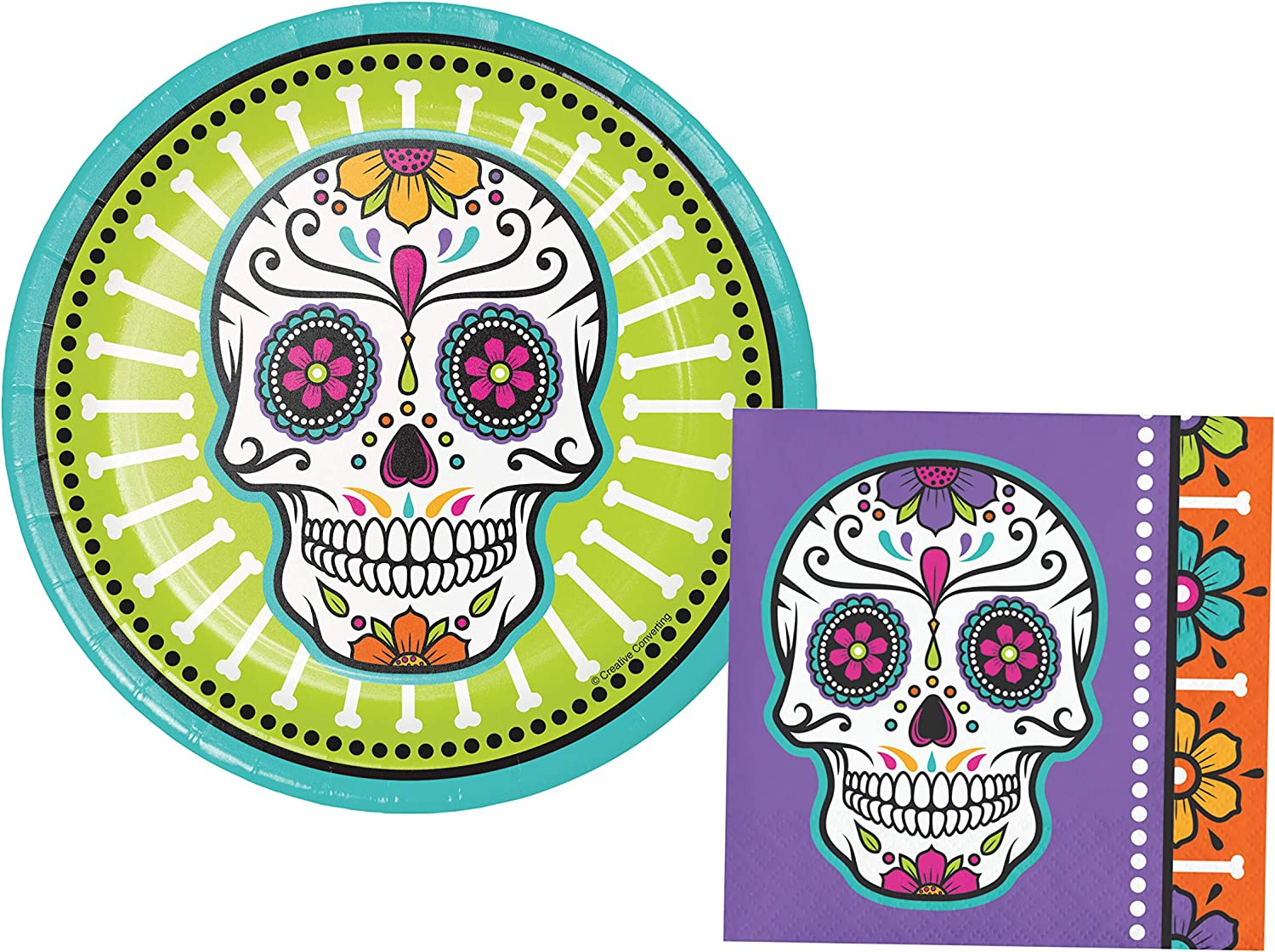 Sugar Skulls Party Supplies   Bundle Includes Paper Dessert Plates and Napkins for 16 People   Day of the Dead Design