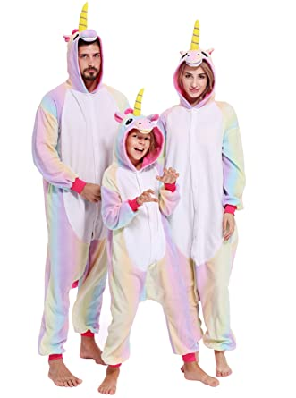 b02f1e1494d7 Unicorn Onesies Adult Pajamas Animal Cosplay Halloween Christmas Costume  Sleepwear for Women Men  Amazon.co.uk  Clothing