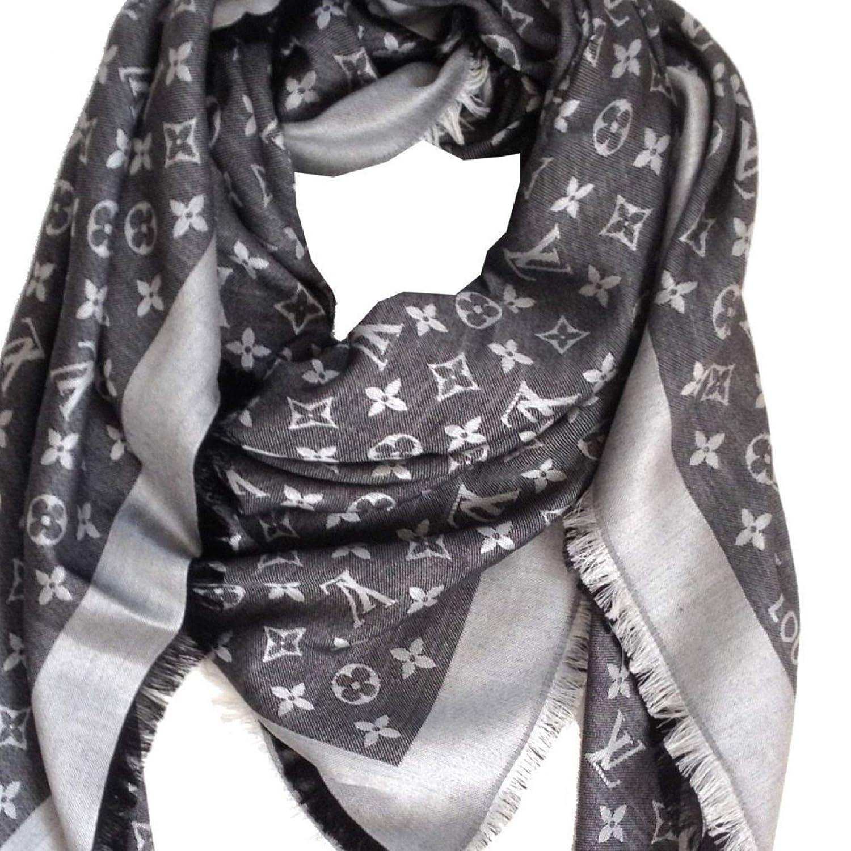 23b57ebb136 Designer Inspired Monogram Logo Shawl in Charcoal Grey Women's Silk ...