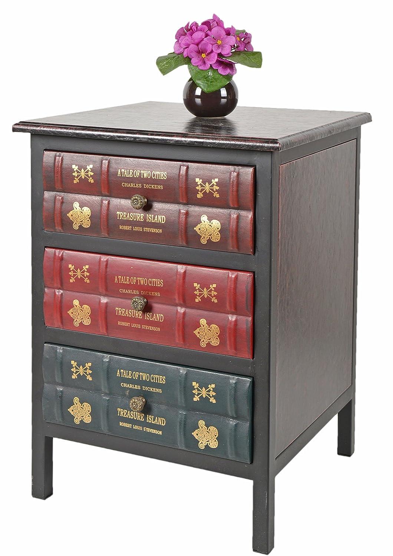 ts-ideen GmbH Mobiletto in stile Inglese Epoca. 3 cassetti con sagoma a libri impilati.