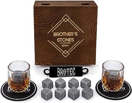 Juego de piedras de whisky y cristal – 8 rocas de granito para whisky – 2 vasos de chupito de cristal en caja de madera – Accesorios de barra premium ...