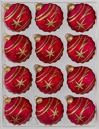 Amazon De 12 Tlg Glas Weihnachtskugeln Set In Ice Rot Gold Komet