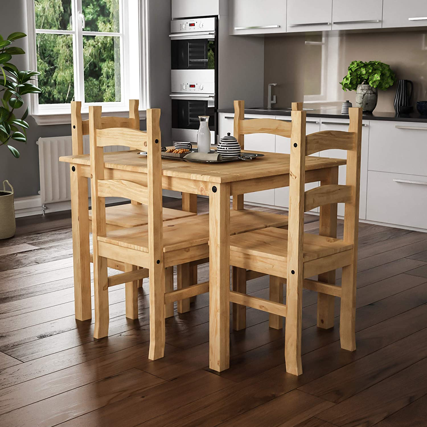 Vida Designs Corona Dining Set 9 Seater, Solid Pine Wood, Dining Table With  9 Chairs