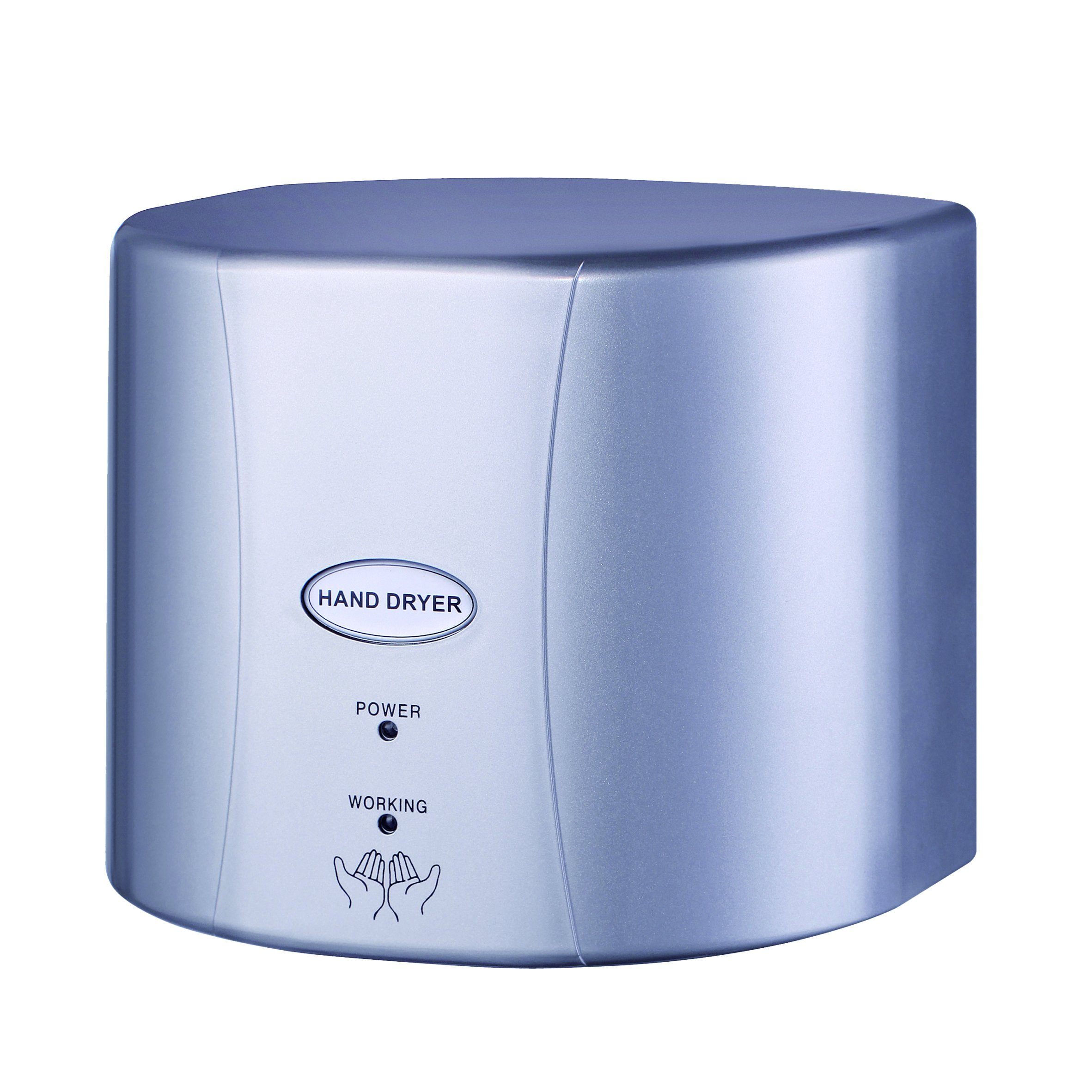 ASIALEO 110v/1350W Electric Automatic Hand Dryer,Commercial For Bathroom,High Speed With Low Noise, Sliver ABS Plastic Cover.