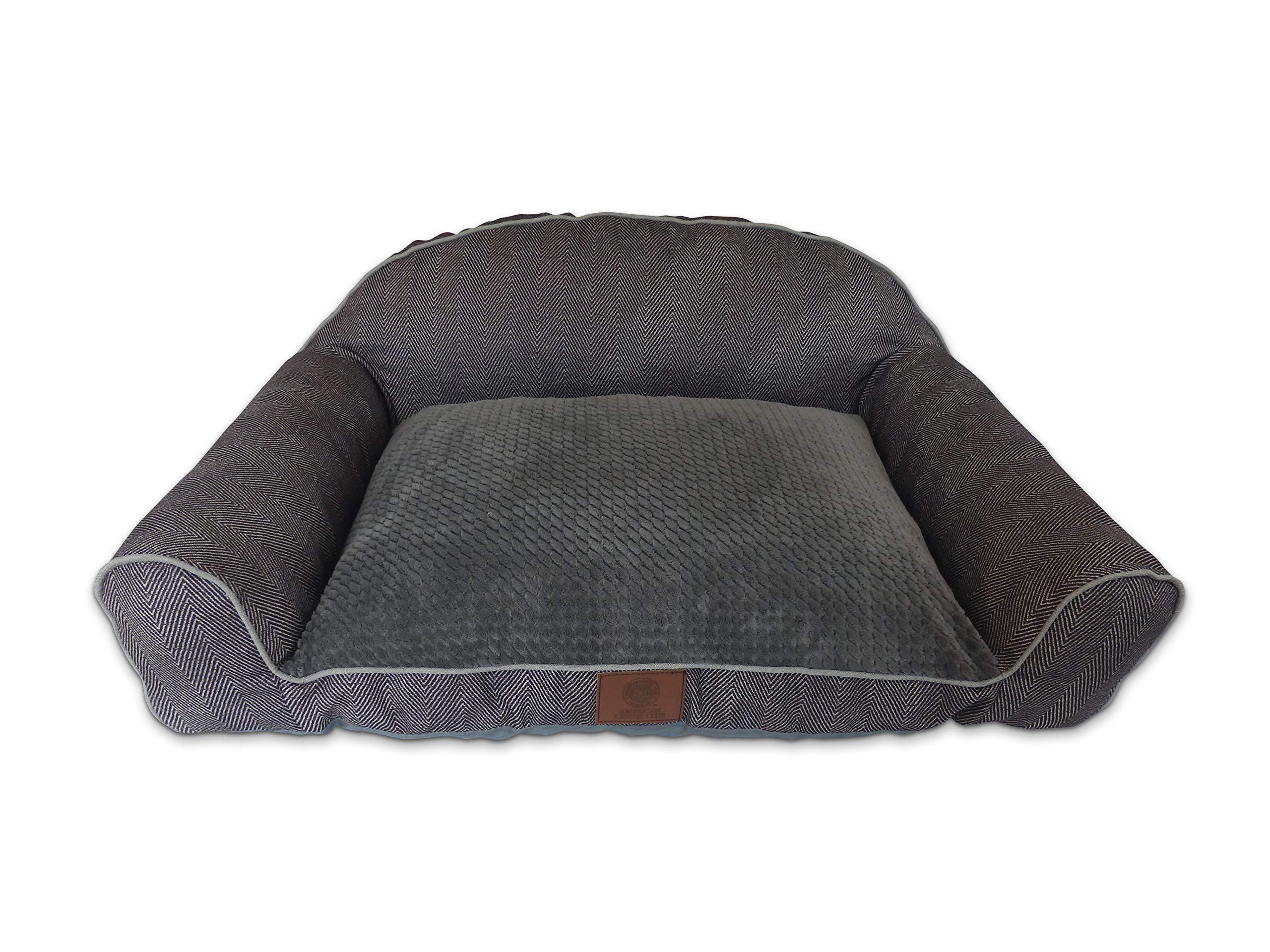 American Kennel Club AKC Premium Memory Foam Herringbone High Back Sofa Couch Pet Dog Bed w/Bolster Sides, Ultra Soft Pixel Sleep Surface, Gray by American Kennel Club