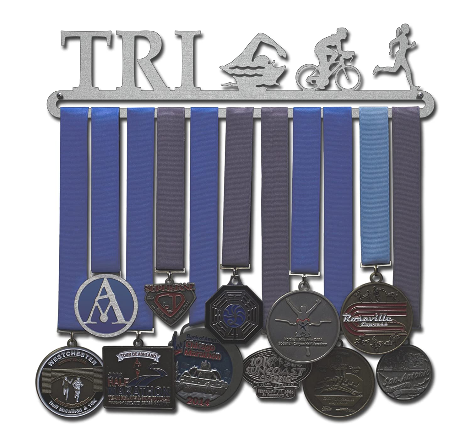 Allied Medal Hangers Triathlon Figures - Male or Female Figures - Multiple Medal Holder Display Rack