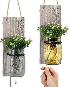 TJ.MOREE Shabby Chic Mason Jar Wall Sconces, Vintage Home Decor with Pull Chain Switch, Seasonal Interchangeable Colorful Flowers and LED Strip Lights Design for Farmhouse Home Decoration Set of 2