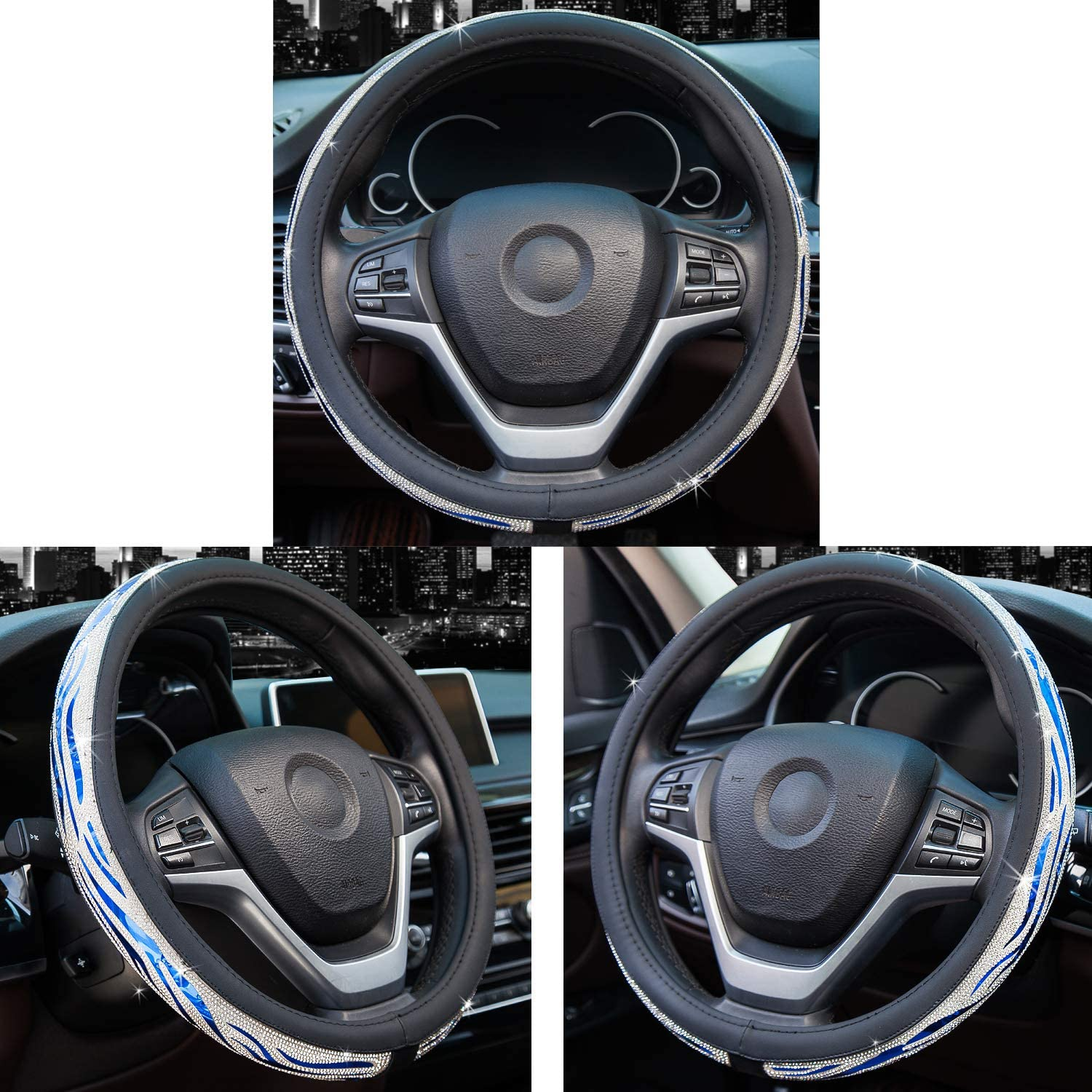 Colorful Didida Bling Steering Wheel Cover for Men Women Diamond Crystal Rhinestones Shiny Universal 15 Inch