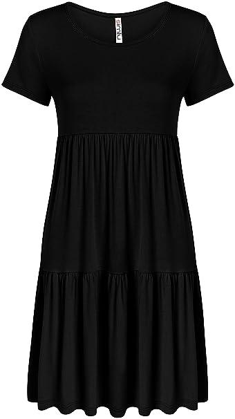 a11d2280e8b0 Black Dresses for Women Plus Size Black Summer Tshirt Dress Black Swing  Dress