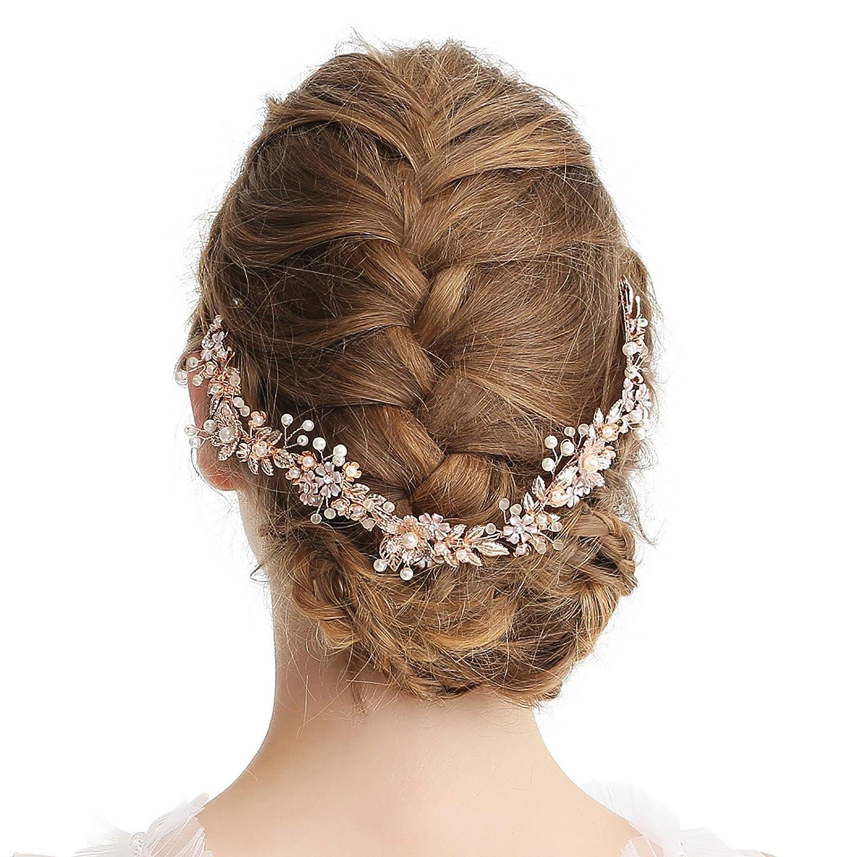 SWEETV Rose Gold Wedding Vine Flower Bridal Headband - Handmade Pearl Headpieces for Women with Ribbon SVSFS18004C1007