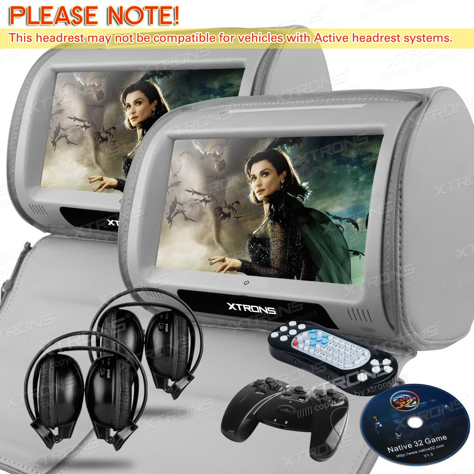 XTRONS Grey 2X Twin Car headrest DVD player 9'' HD Touch Screen with FM Game Disc Mp3 IR Headphones