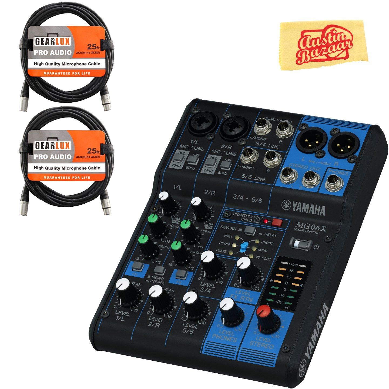 Yamaha MG06X Mixer Bundle with XLR Cables and Polishing Cloth