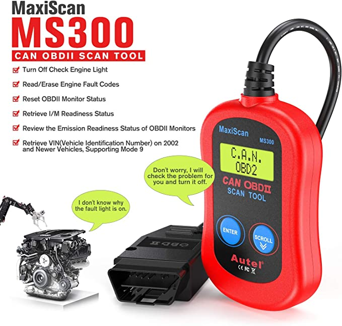 Read VIN Info I//M Readiness Autel MaxiScan MS300 OBD2 Scanner Car Engine Fault Code Reader Read//Erase Fault Codes Turn Off Check Engine Light