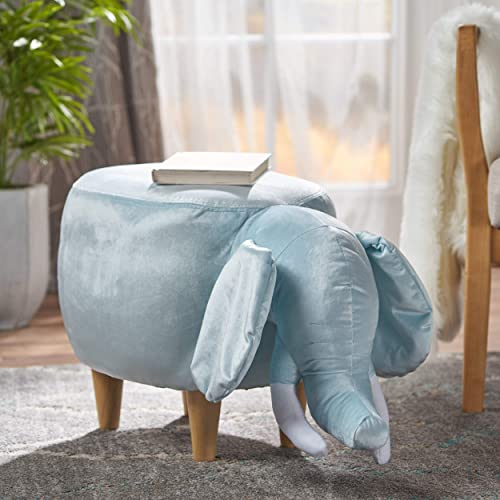 Christopher Knight Home Light Blue Velvet Elephant Ottoman