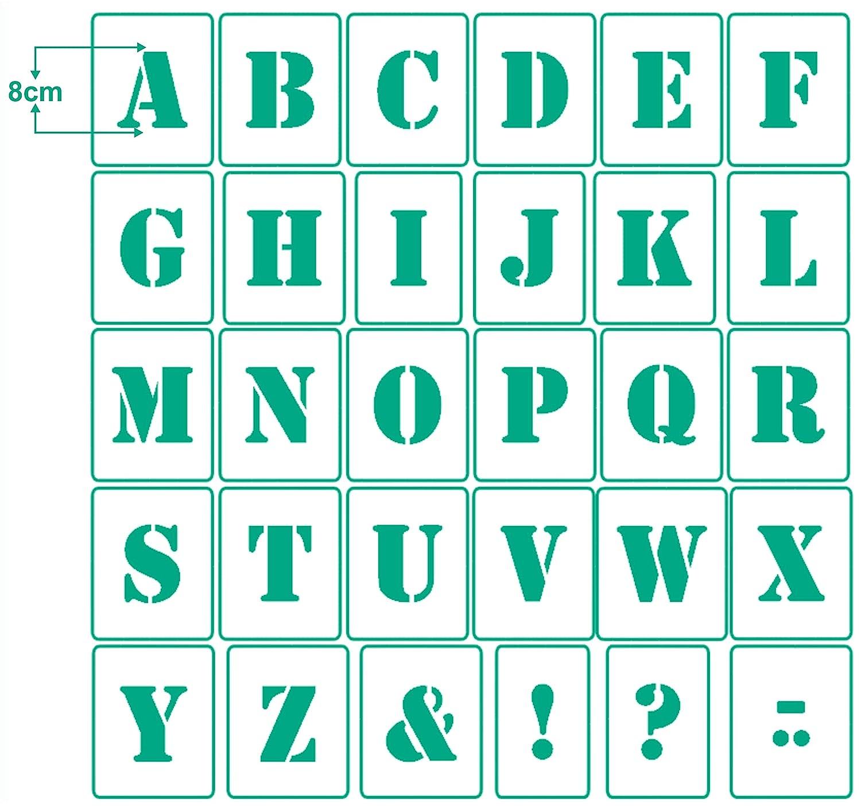 4 Sonderzeichen Wandschablone 30 einzelne Schablonen A-Z Buchstabenschablone Nr.05 Stencil 1 Satz Buchstaben 7cm hoch