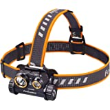 Fenix HM65R 1400 lumen dual beam LED Headlamp, high capacity rechargeable battery with EdisonBright battery carry case…