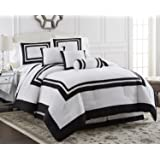 Chezmoi Collection 7-Piece Caprice White with Black Square Pattern Hotel Comforter Set, Queen