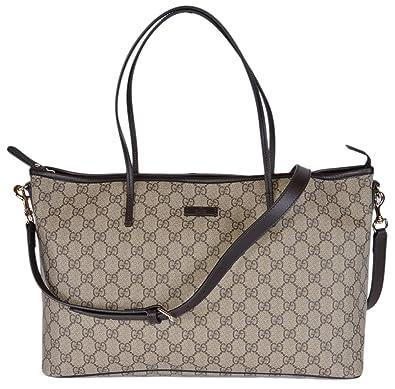 7923d1ab1eb Amazon.com  Gucci Women s GG Supreme Canvas Convertible Handbag (Ebony  Beige Brown)  Shoes