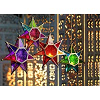 Collectible India Metal Glass Star Lantern Hanging Candle Holder