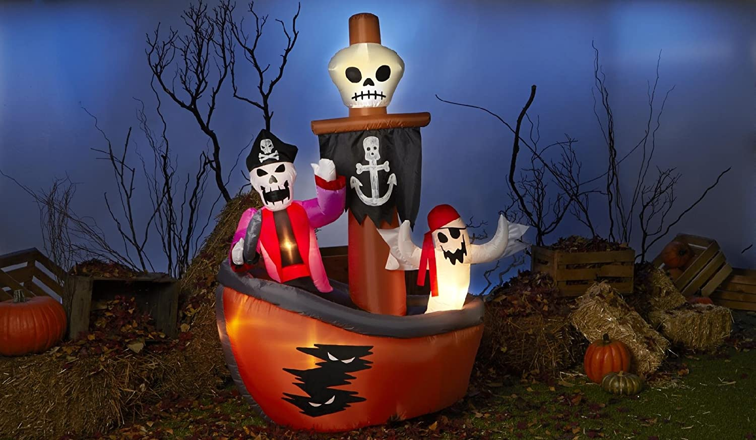 amazoncom totally ghoul airblown halloween decoration ghost pirate ship toys games