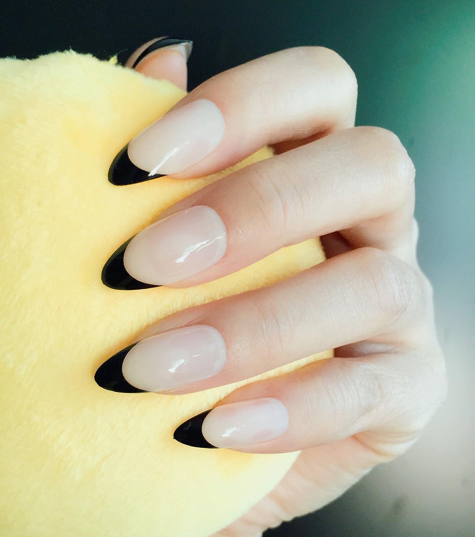 YUNAI Estilete Medio Uñas postizas Naturaleza Desnudo Color con Negro Uñas falsas Consejos de uñas francesas: Amazon.es: Belleza