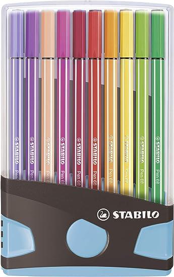 Premium Filzstift Stabilo Pen 68 Colorparade 20er Tischset In Anthrazit Hellblau Mit 20 Verschiedenen Farben Bürobedarf Schreibwaren