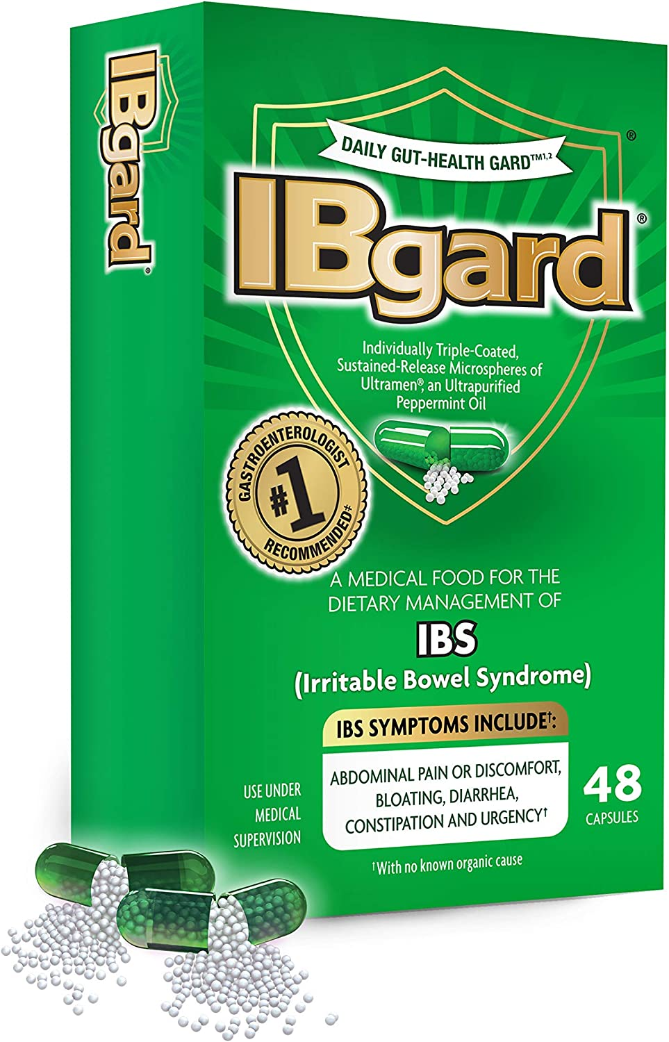 IBgard® for The Dietary Management of Irritable Bowel Syndrome (IBS) Symptoms Including, Abdominal Pain, Bloating, Diarrhea, Constipation†*, 48 Capsules: Health & Personal Care