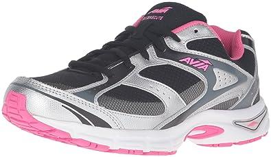 AVIA Women's Avi-Execute Running Shoe, Black/Chrome Silver/Pink Energy/
