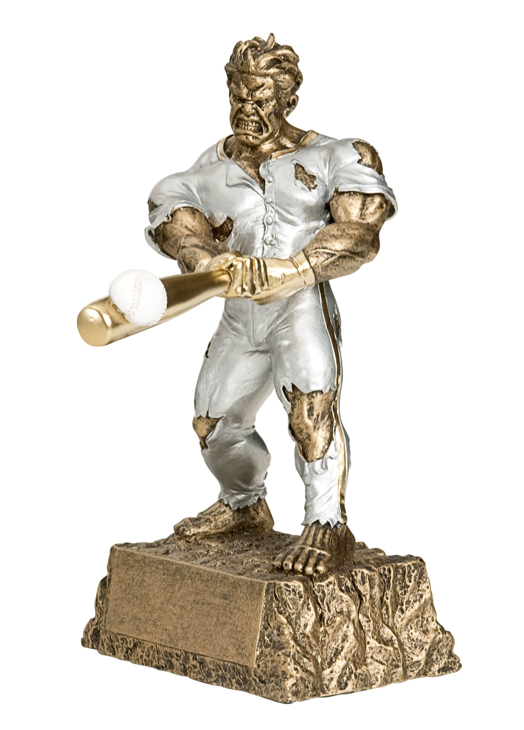 Monster Baseball Trophy - Engraved Plates by Request - Perfect Baseball Award Trophy - Hand Painted Design - Made by Heavy Resin Casting - for Recognition - Decade Awards