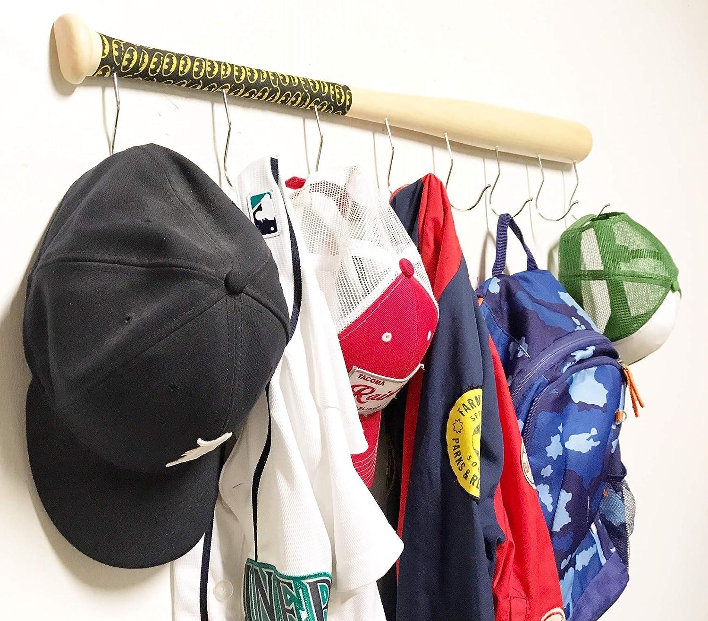 Bate de béisbol montado en la pared para colgar sombrero abrigo y ...