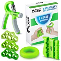 HerculesGrip Hand Grip Strengthener Forearm Grip Workout Kit - 4 Pack - Adjustable Hand Gripper Resistance Range of 22-88lbs, Finger Exerciser, Finger Stretcher & Exercise Ring + HD Video Manual
