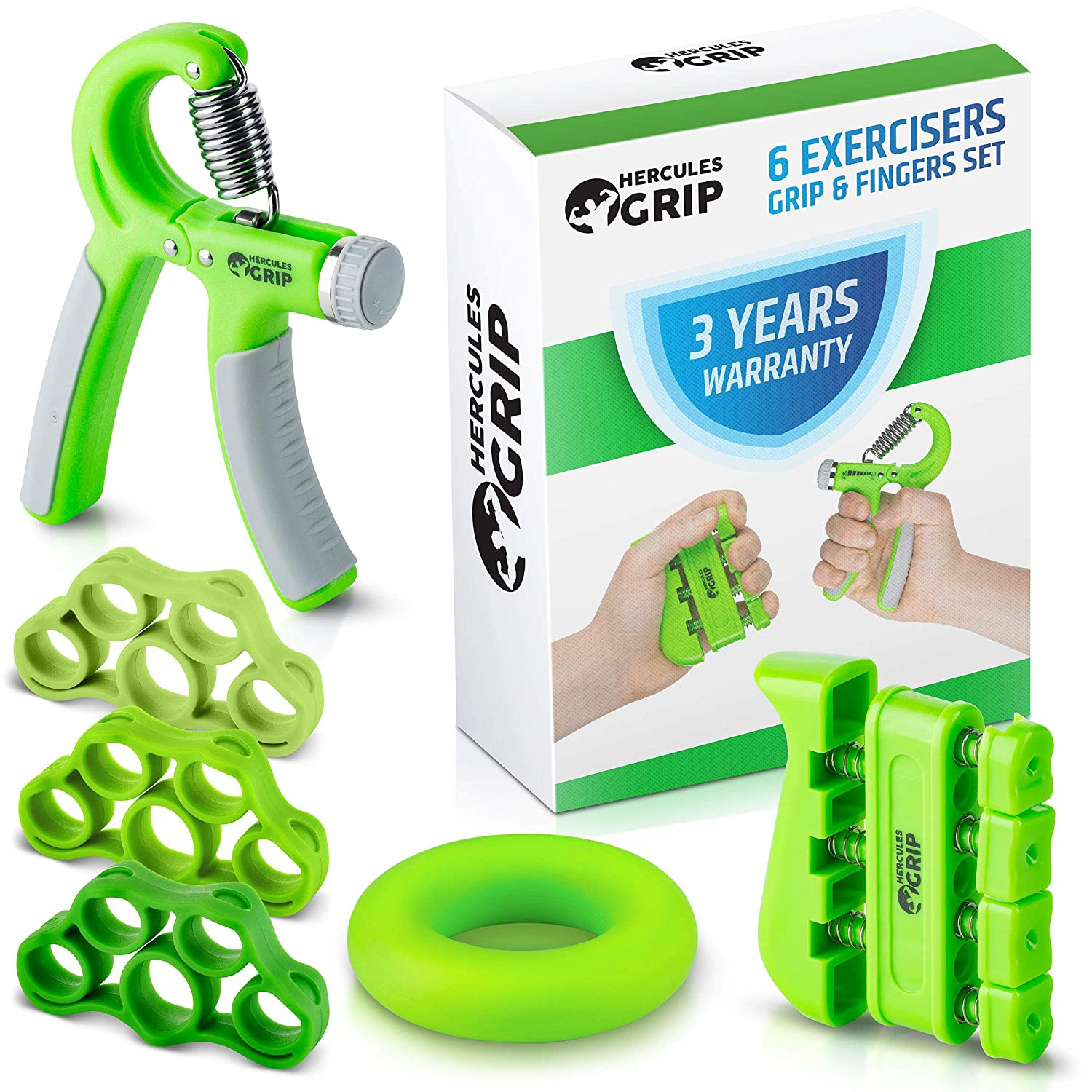 HerculesGrip Hand Grip Strengthener Forearm Grip Workout Kit – 4 Pack – Adjustable Hand Gripper Resistance Range of 22-88lbs, Finger Exerciser, Finger Stretcher Exercise Ring HD Video Manual