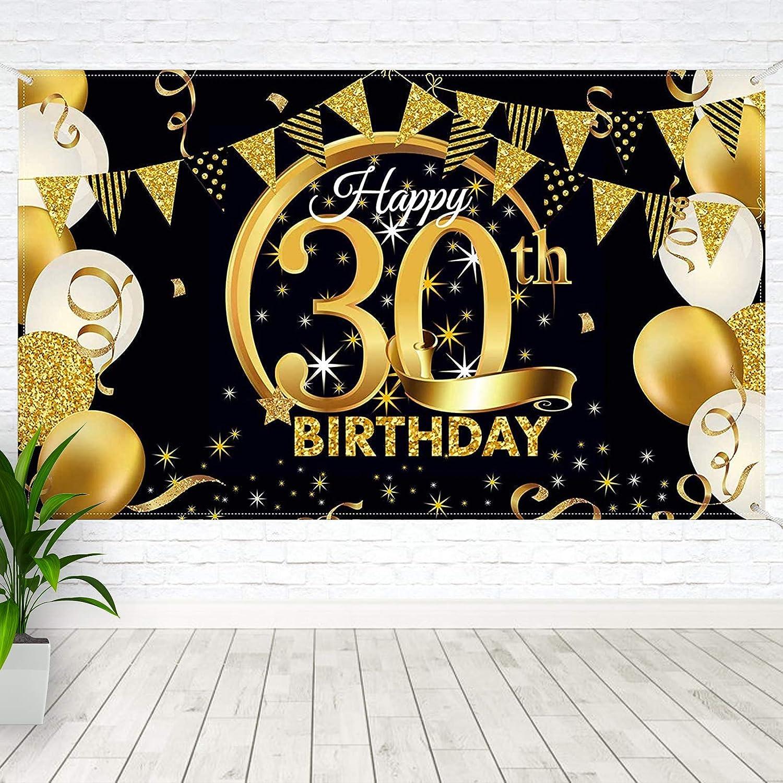 Boyatong Banner 30 Geburtstag Extra Großes Gewebe Schwarz Gold Zeichen Plakat 30 Geburtstag Deko Set Für Männer Frauen Spielzeug