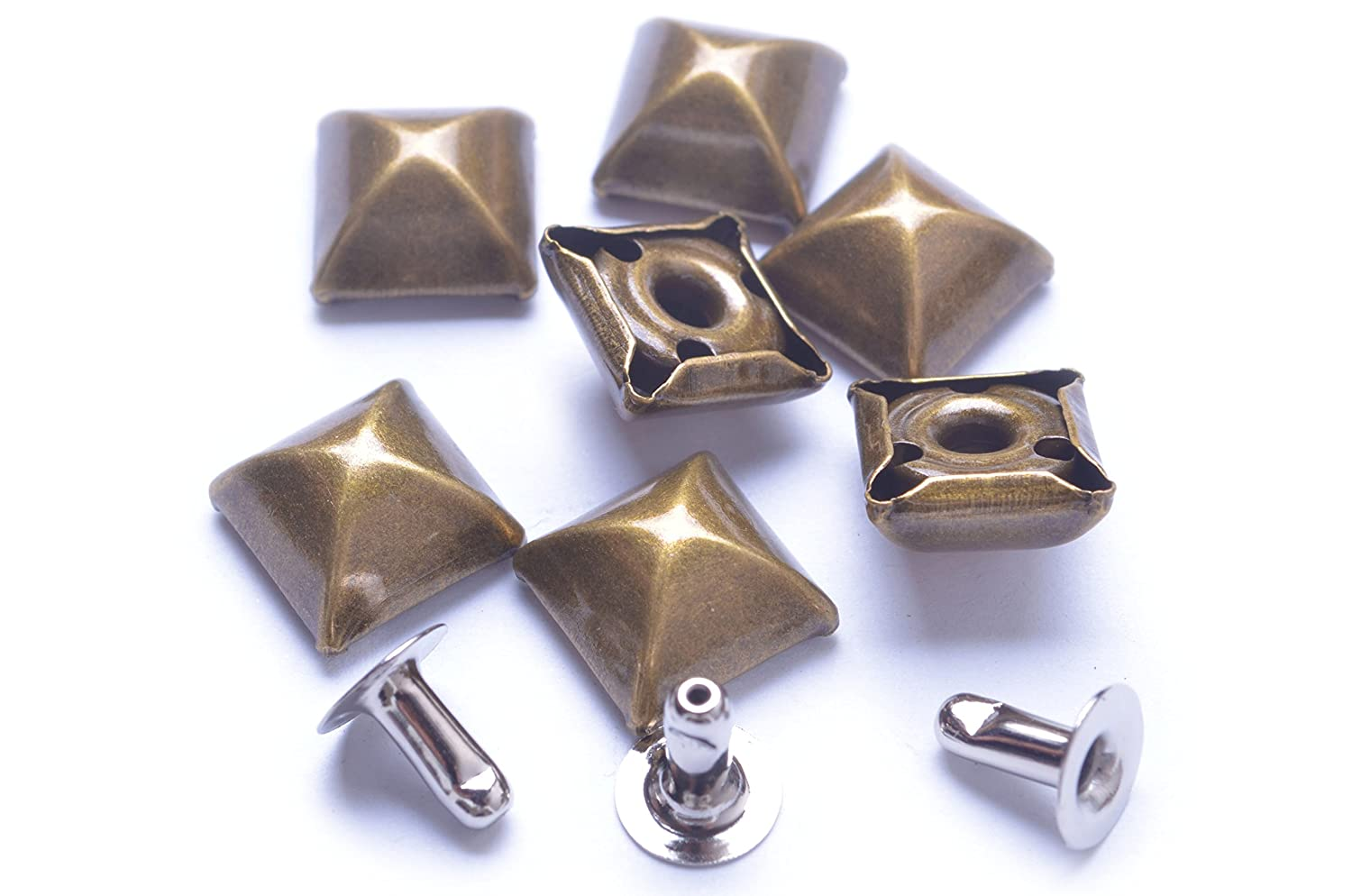 Vintage Bronze 100pcs Cone Spikes Screwback Studs DIY Craft Cool Rivets Punk Stud Square Style 10x4mm 3//8x1//8