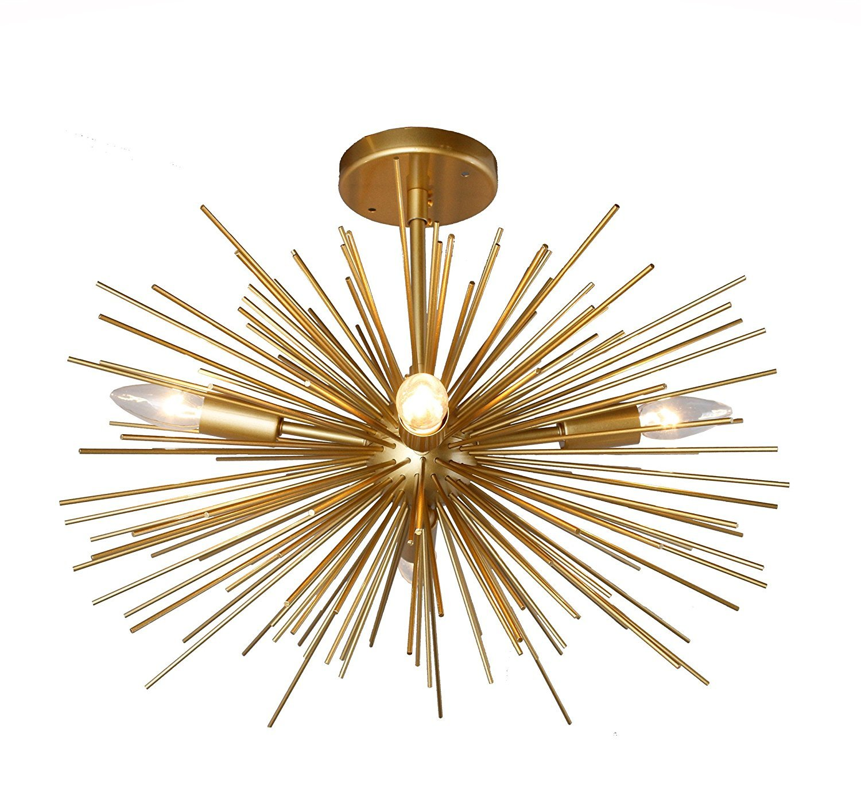 Decomust 20'' X 14'' Inch Astra Sputnik Light Satellite Ceiling Light Fixture, Flush Mount Light, Brass Copper Gold Color