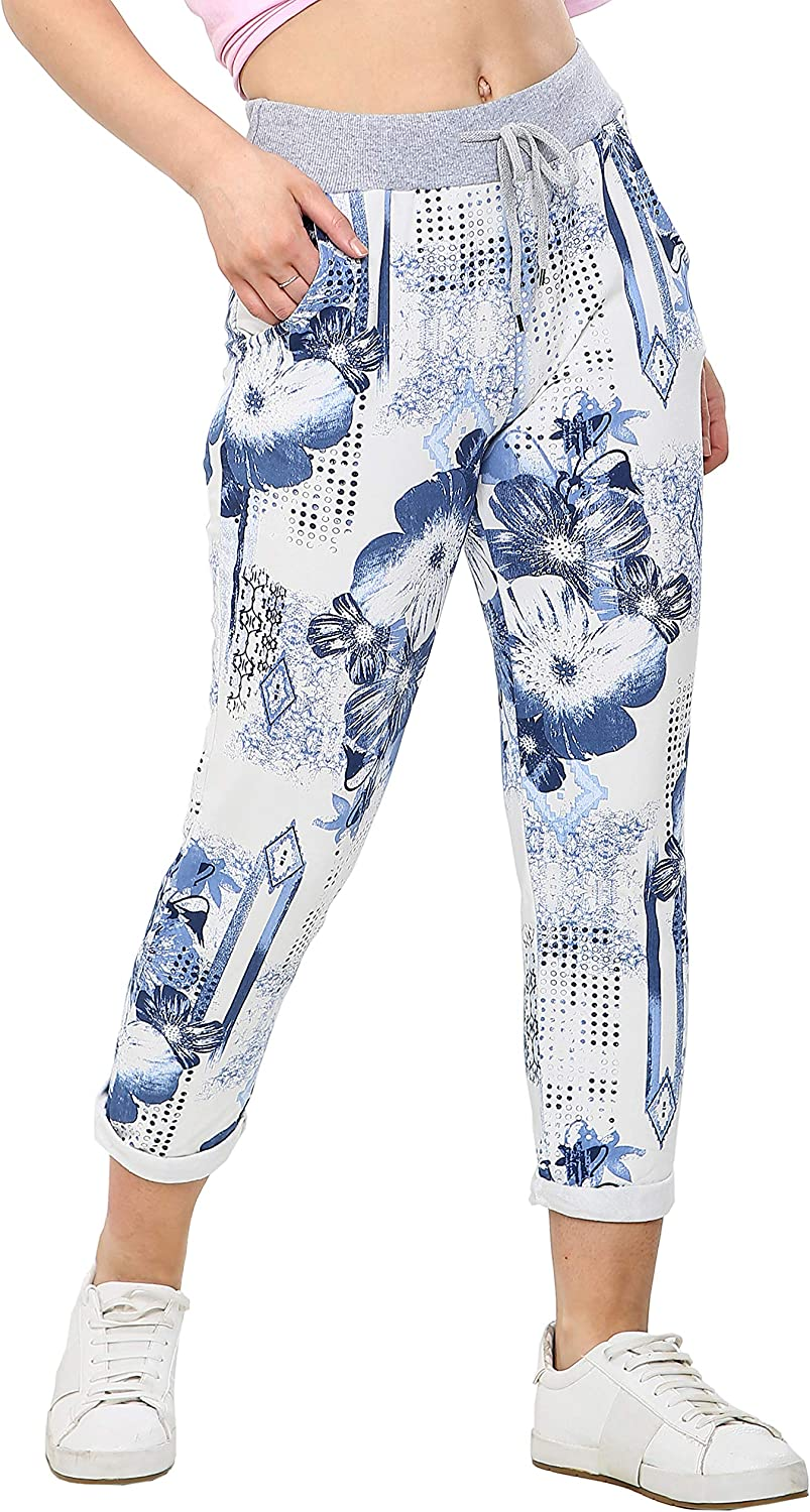 Love My Fashions/® Womens Athletic Italian Active Yoga Plain Trouser Printed Pants Ladies Elasticated Drawstring Waist Open Ankle Sportswear Stretchy Cotton Summer Pajama Jogging Bottoms