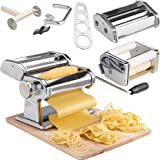 VonShef 3-in-1 Stainless Steel Pasta Maker with 3 Cut Press Blade Settings, Table Top Clamp and Pasta Measuring Tool