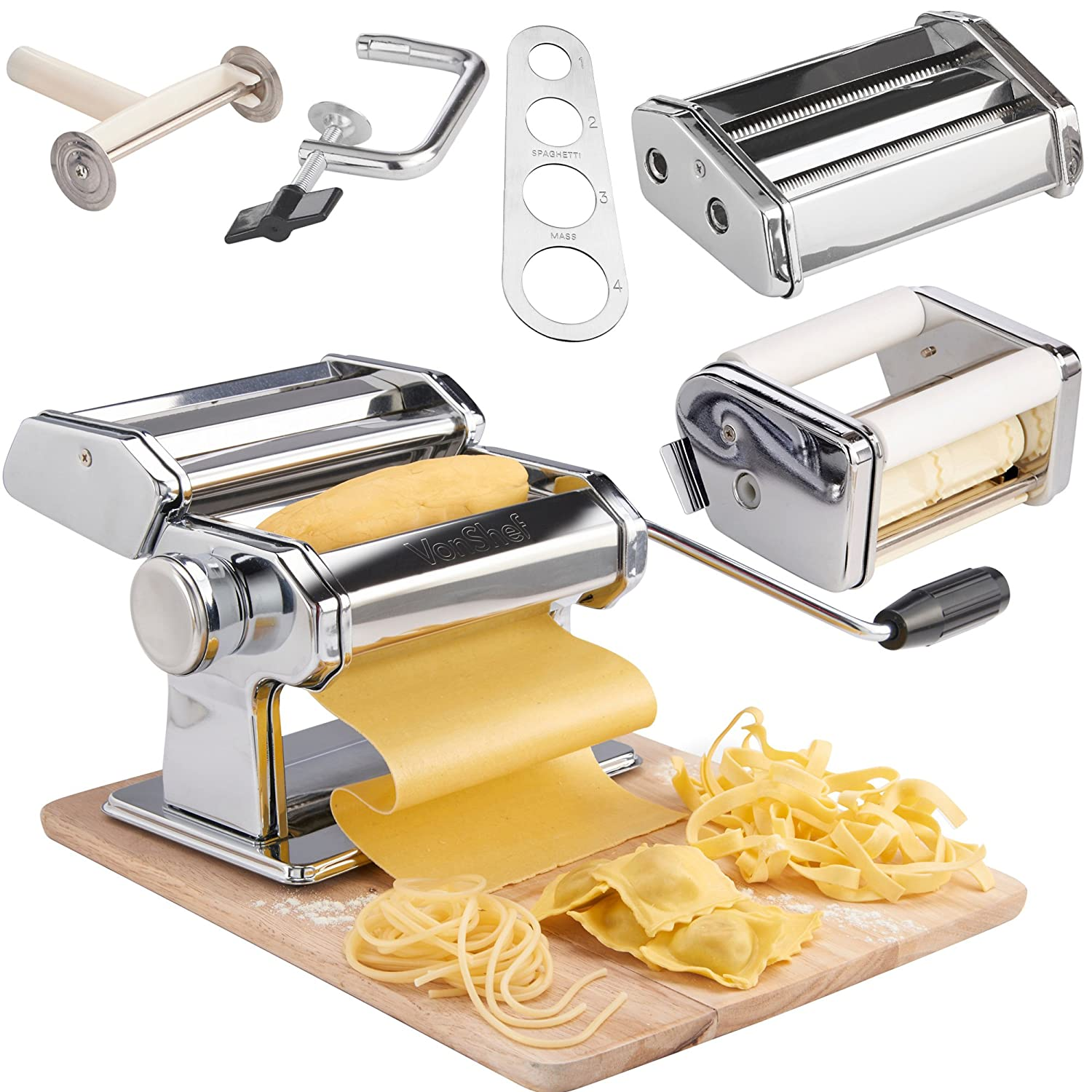 VonShef Pasta Maker, 3 in 1 Pasta Machine Stainless Steel, Pasta Roller with 3 Cut Press Blade Settings, Table Top Clamp and Pasta Measuring Tool for Homemade Spaghetti, Fettuccini