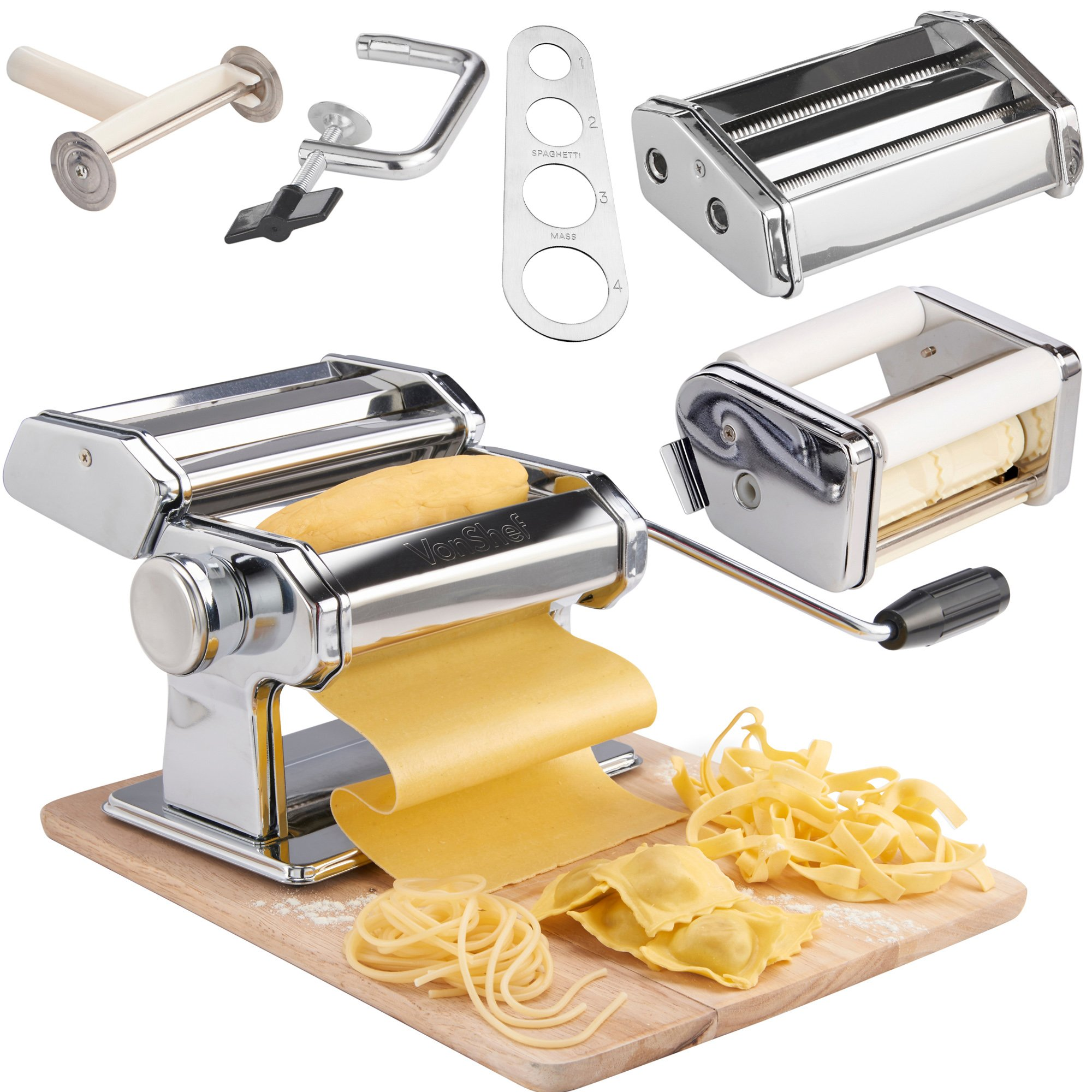 VonShef Pasta Maker, 3 in 1 Pasta Machine Stainless Steel, Pasta Roller with 3 Cut Press Blade Settings, Table Top Clamp and Pasta Measuring Tool for Homemade Spaghetti, Fettuccini by VonShef