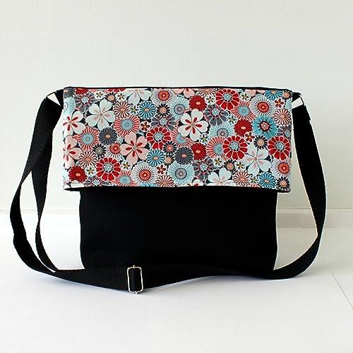 bandolera en Bolso y negro' lona algodón mano a hecho 'Flores dwOqYw1