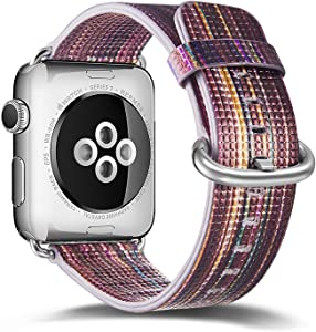 Compatible with Apple Watch Band 38mm 40mm,Genuine Leather Strap Replacement Bands with Stainless Metal Clasp for Watch Series 6 Series 5 Series 4 Series 3 Series 2 Series 1 Sports Edition Women Men (Dark, 38mm/40mm)