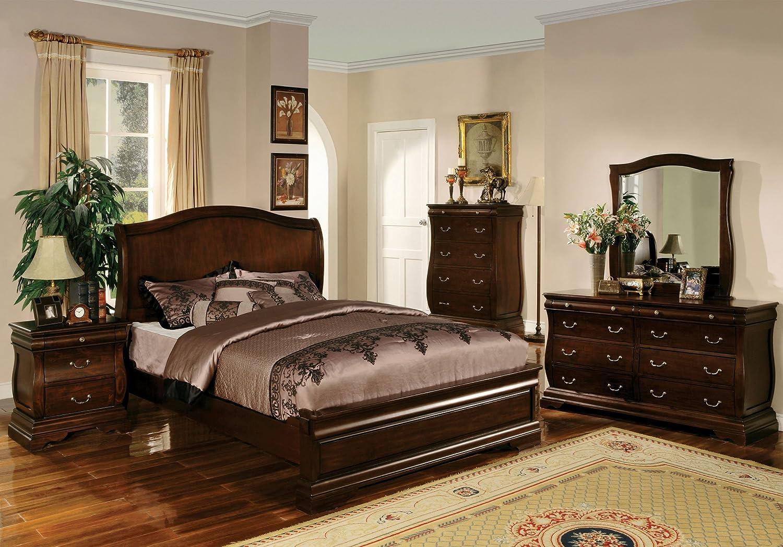 Amazon.com: Furniture of America Hendrike Platform Bed, California King, Dark Walnut Finish: Kitchen & Dining