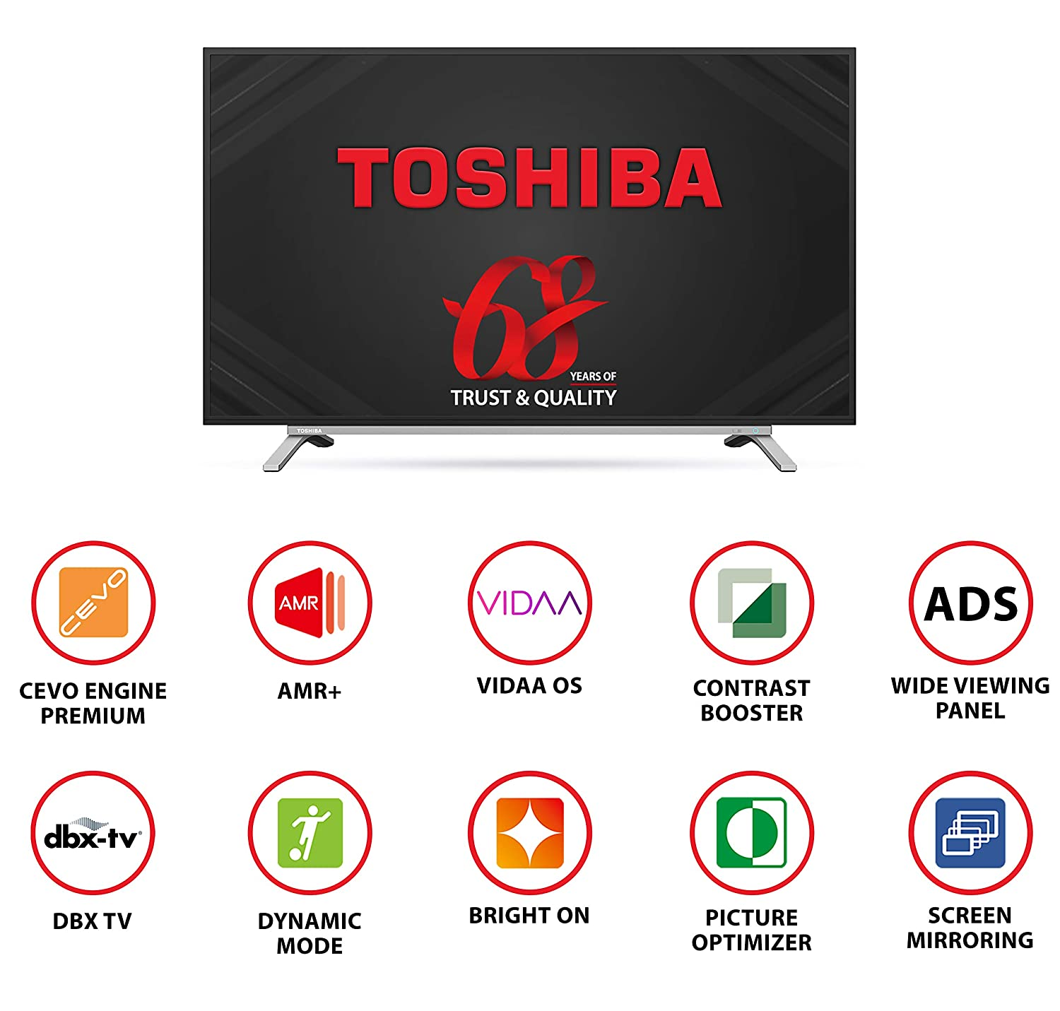 TOSHIBA 108 cm (43 inches) Vidaa OS Series Full HD Smart ADS LED TV