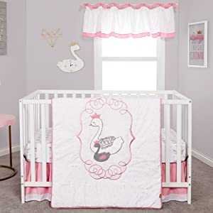 Trend Lab Swans 3 Piece Crib Bedding/Nursery Bedding Set, White/Pink
