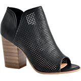 Women's Crystal Open Peep Toe Perforated Chunky Stacked Block Heel Side Zipper Closure Sandals Cut Out Heeled Bootie By LUSTHAVE