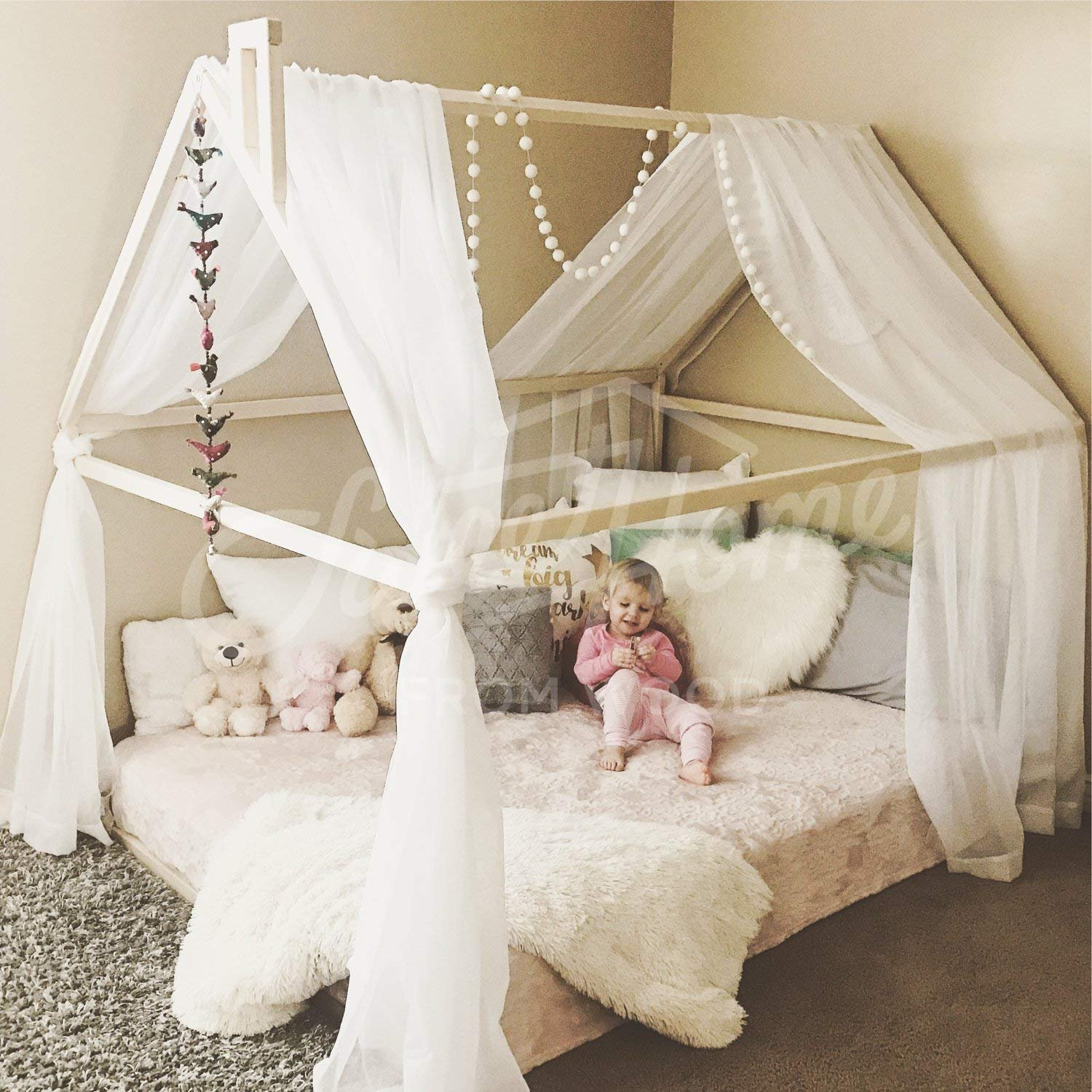 Queen size Toddler bed, house bed, tent bed, wooden house, wood house, wood nursery, teepee bed, wood house bed, wood bed frame, kids teepee & SLATS