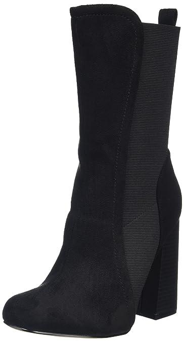 Elastic Midi Sock Bottes Classiques Femme, Noir (Black Micro), 39Boohoo