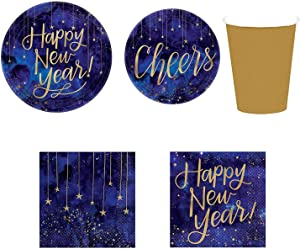 "56 Pcs Midnight New Year's Eve Party Supply Set | 10.5"" Plates, 7"" Plates, Cups, Luncheon Napkins & Beverage Napkins, New Year Tableware"