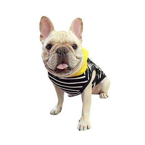 Frenchie - Ropa para mascotas, diseño de rayas negras con capucha amarilla, para perro